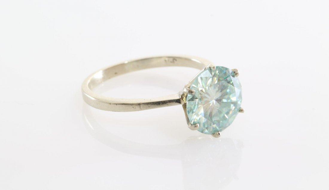 Green Moissanite Engagement Ring | 14K White Gold | - 2