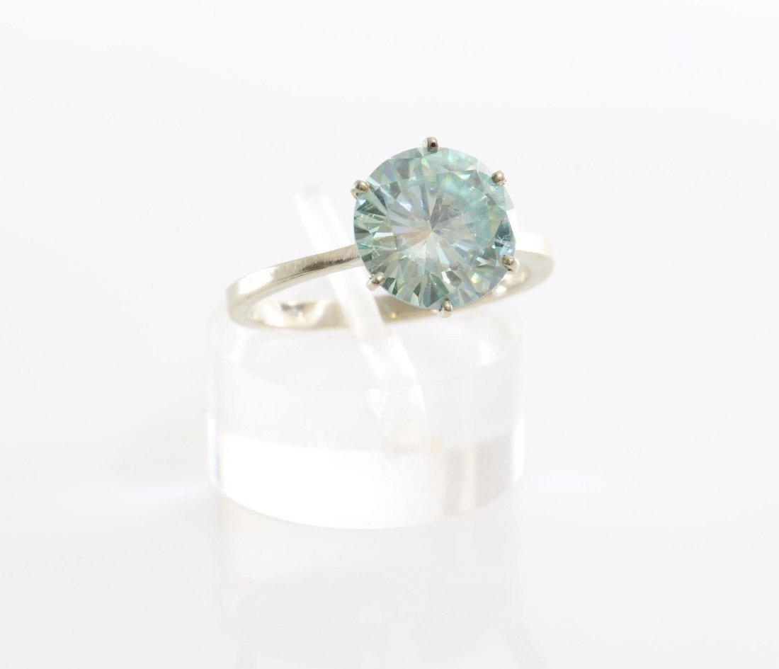Green Moissanite Engagement Ring | 14K White Gold | - 3
