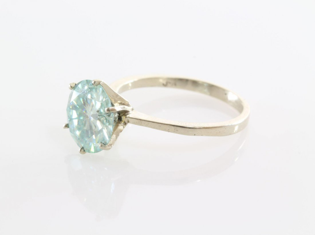Green Moissanite Engagement Ring | 14K White Gold | - 5