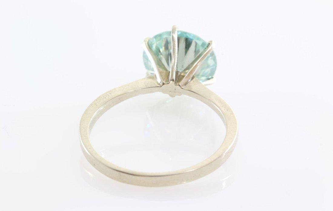 Green Moissanite Engagement Ring | 14K White Gold | - 6