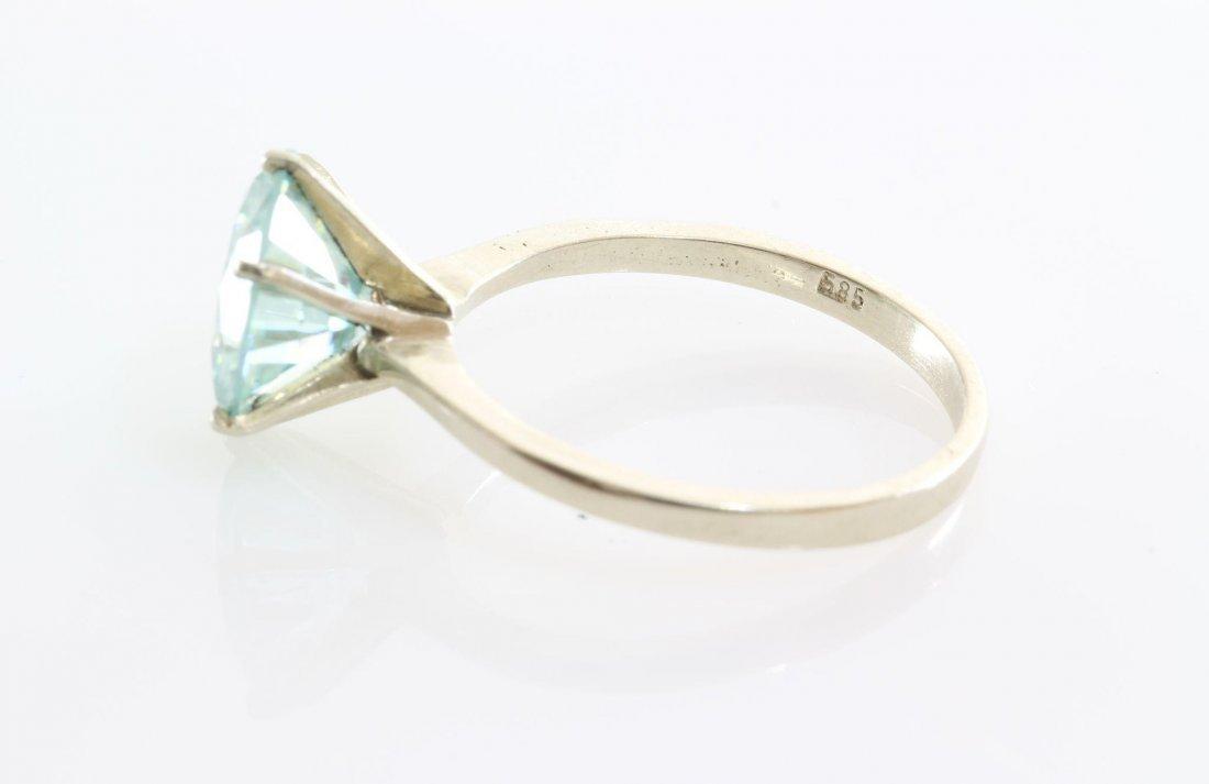Green Moissanite Engagement Ring | 14K White Gold | - 7