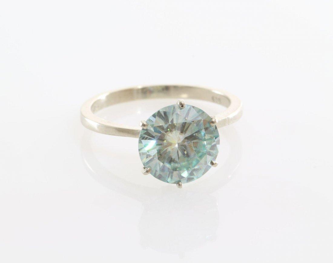 Green Moissanite Engagement Ring | 14K White Gold | - 8