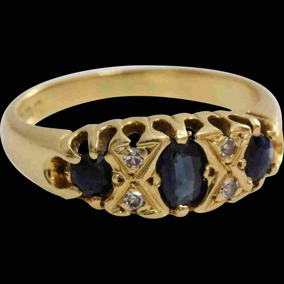 Edwardian Sapphire Diamond Ring   18K Yellow Gold  