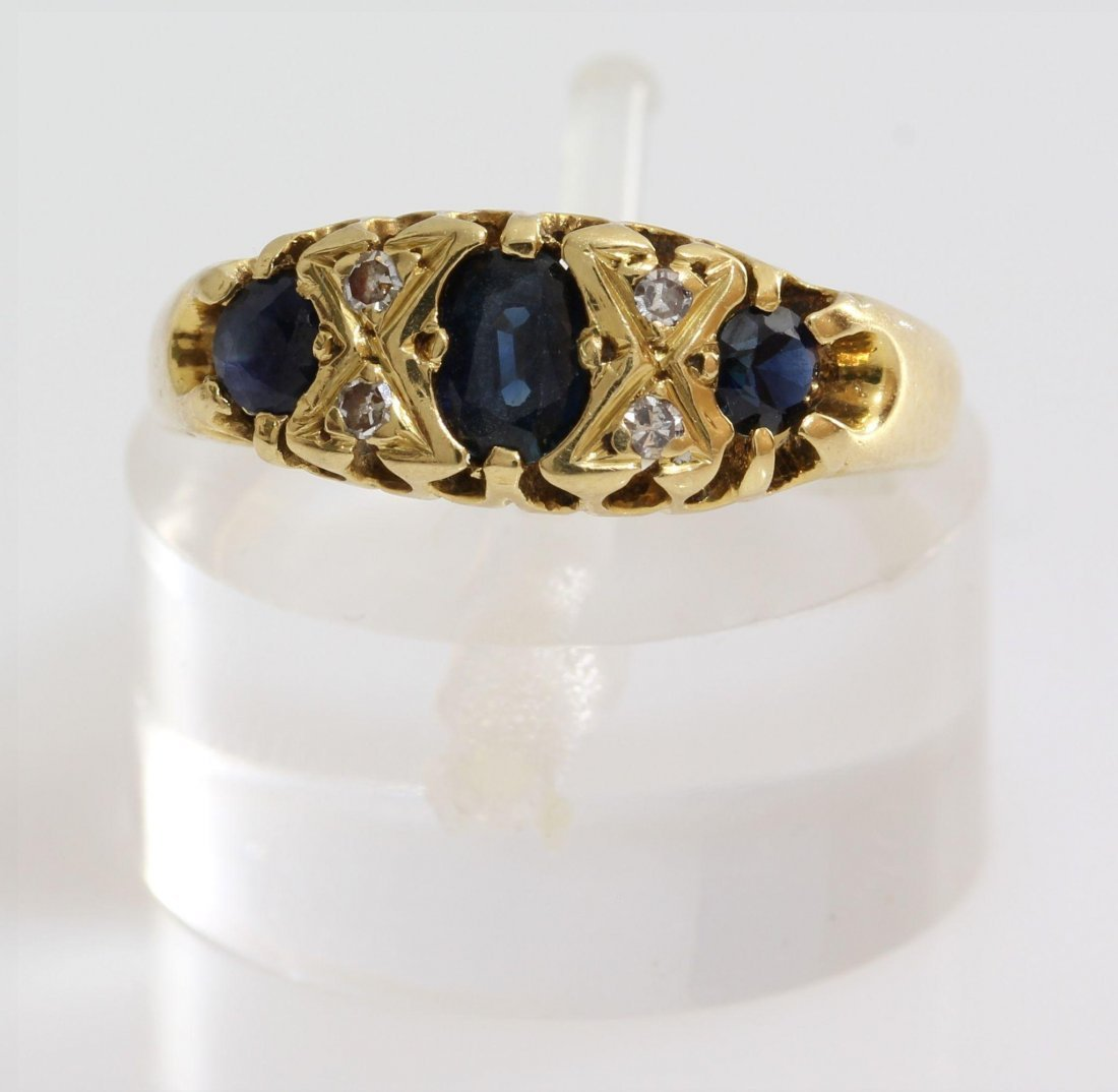 Edwardian Sapphire Diamond Ring | 18K Yellow Gold | - 2