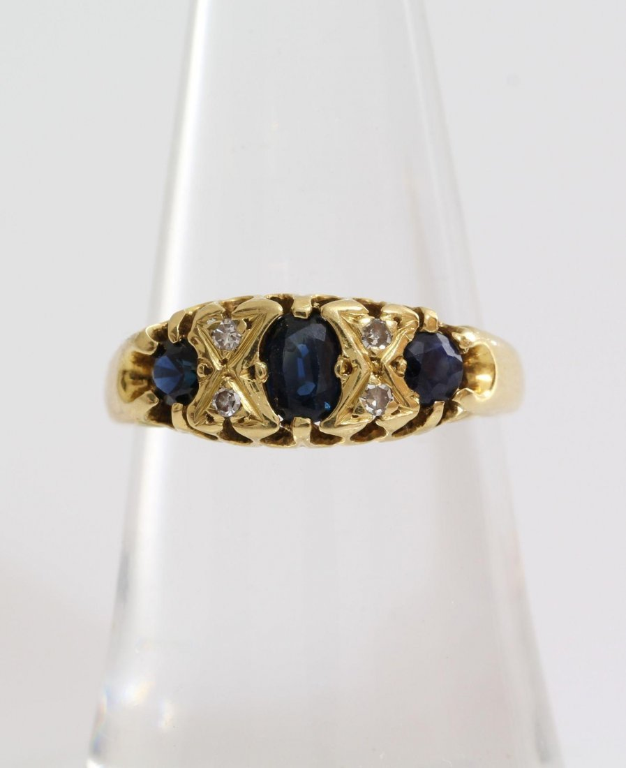 Edwardian Sapphire Diamond Ring | 18K Yellow Gold | - 3