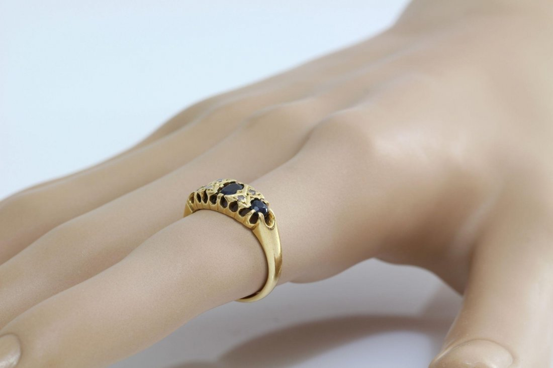 Edwardian Sapphire Diamond Ring | 18K Yellow Gold | - 4