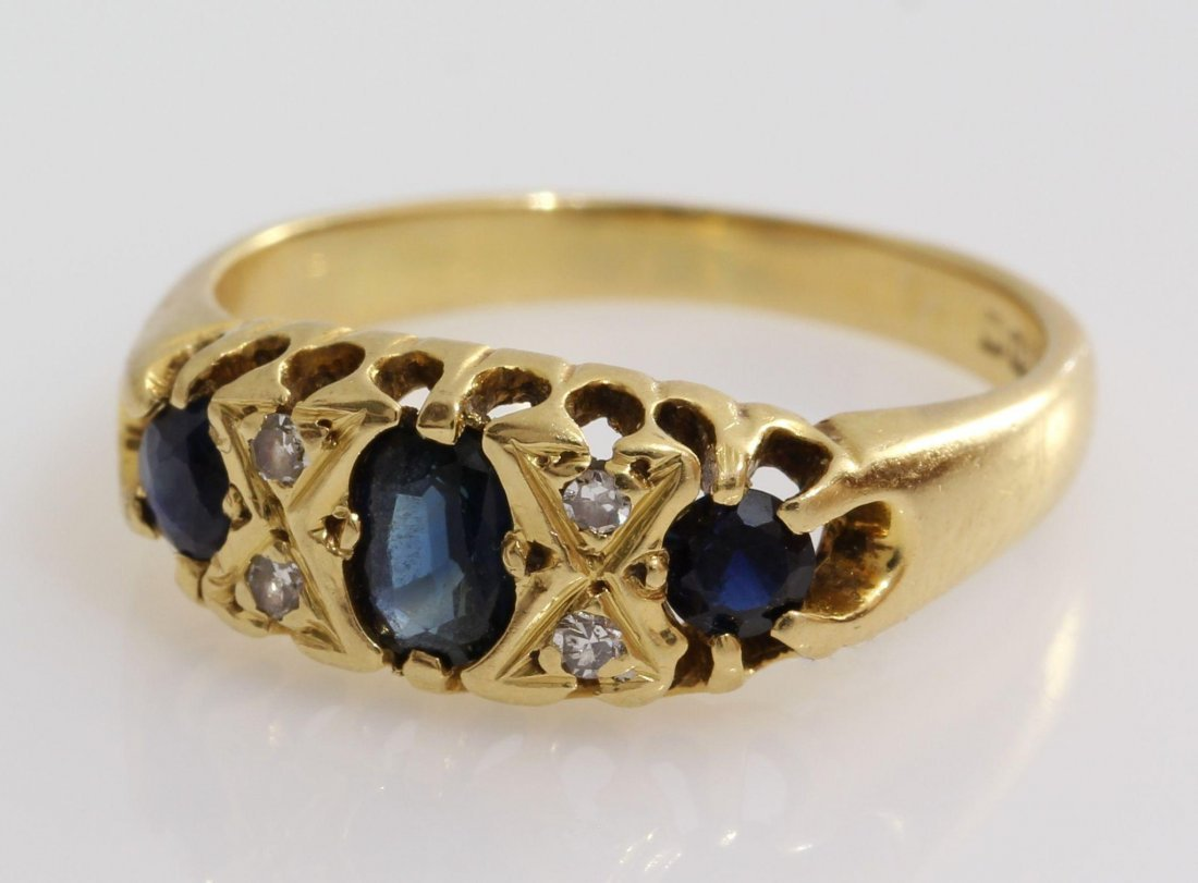 Edwardian Sapphire Diamond Ring | 18K Yellow Gold | - 5