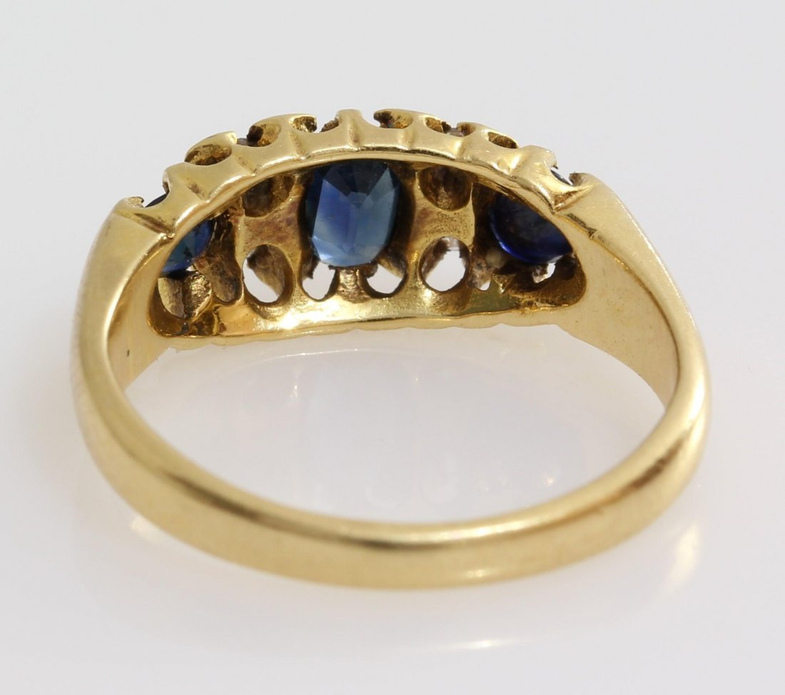 Edwardian Sapphire Diamond Ring | 18K Yellow Gold | - 6