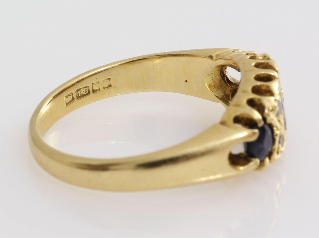Edwardian Sapphire Diamond Ring | 18K Yellow Gold | - 7