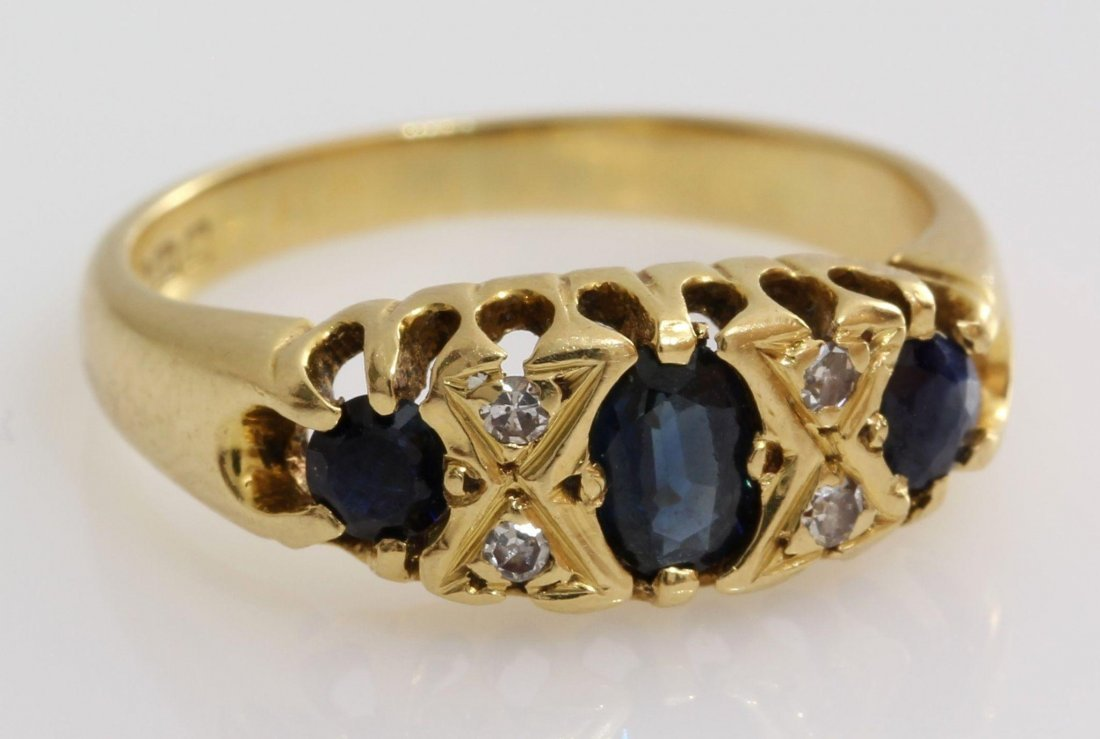 Edwardian Sapphire Diamond Ring | 18K Yellow Gold | - 8