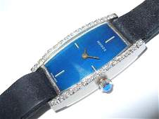 Ladies 14kt White Gold Diamond Cobalt Blue Movado Dress