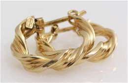 Yellow Gold Hoop Earrings | 9K Italy Vintage | Hinged