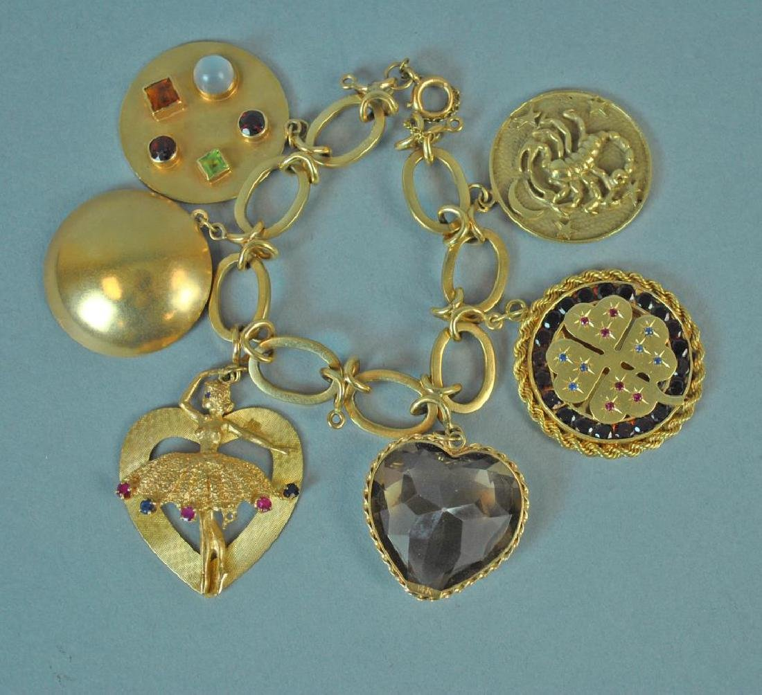 GOLD CHARM BRACELET WITH 6 LARGE CHARMS