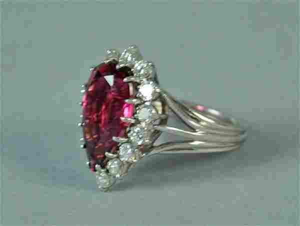 PLATINUM, TOURMALINE & DIAMOND RING