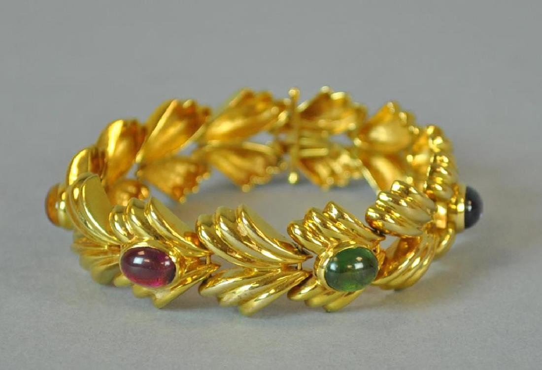 GOLD & GEMSTONE FANCY LINK BRACELET