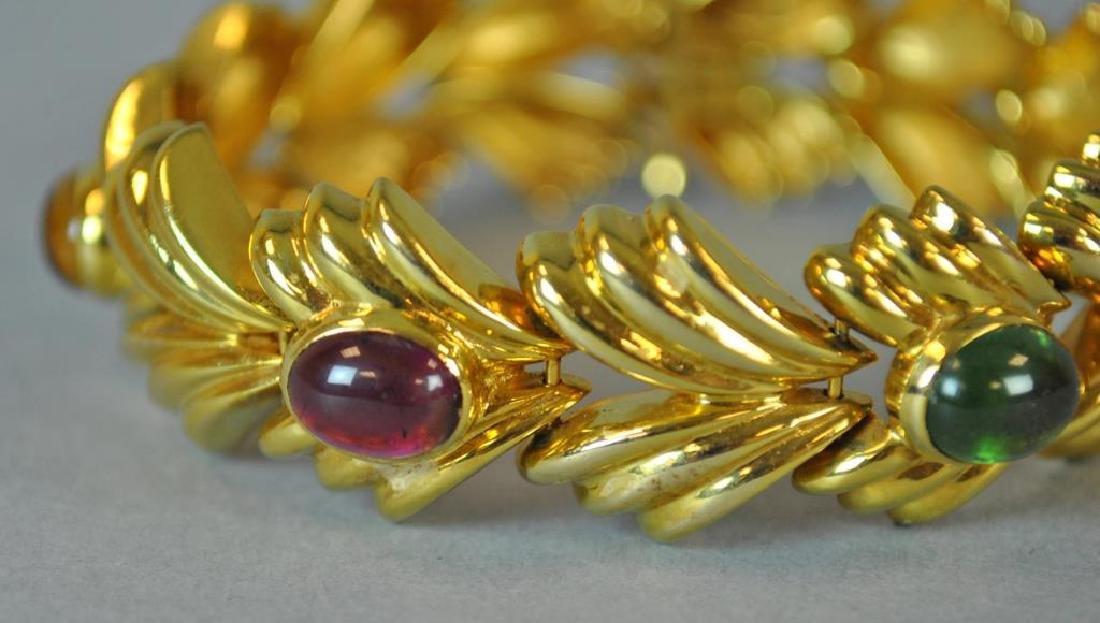 GOLD & GEMSTONE FANCY LINK BRACELET - 2