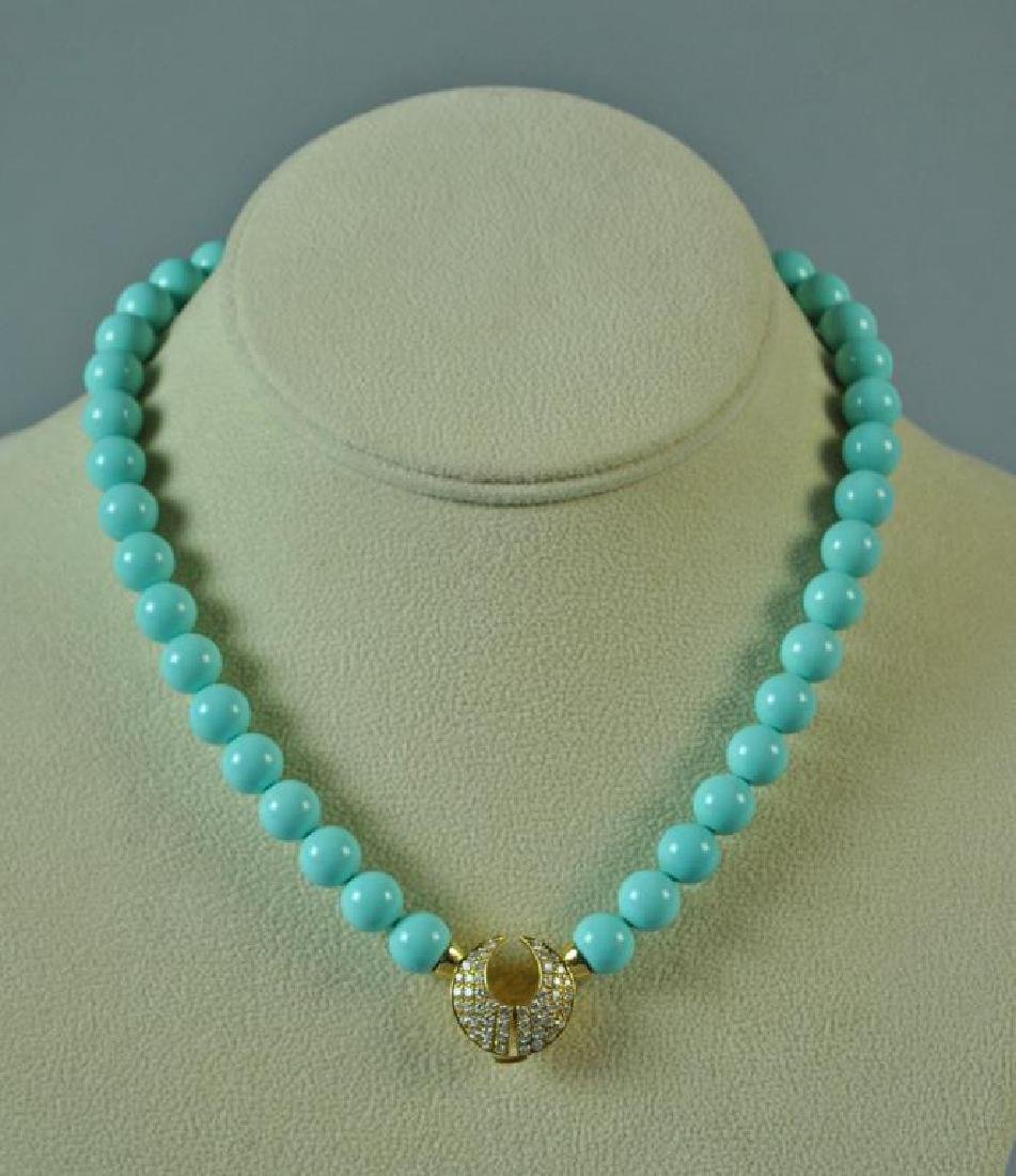 TURQUOISE COLOR BEADS WITH 18K DIAMOND CLASP