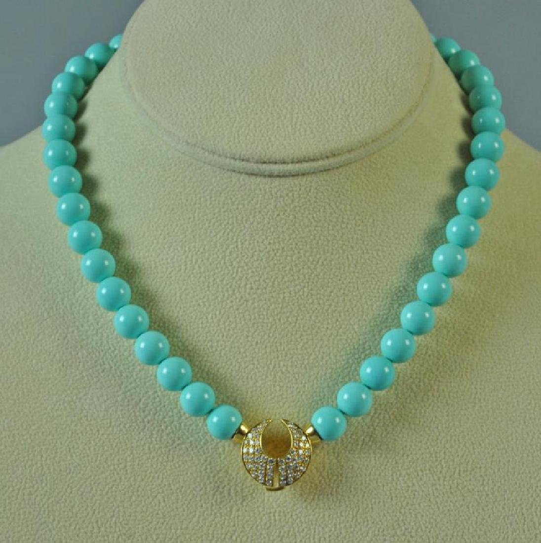 TURQUOISE COLOR BEADS WITH 18K DIAMOND CLASP - 2