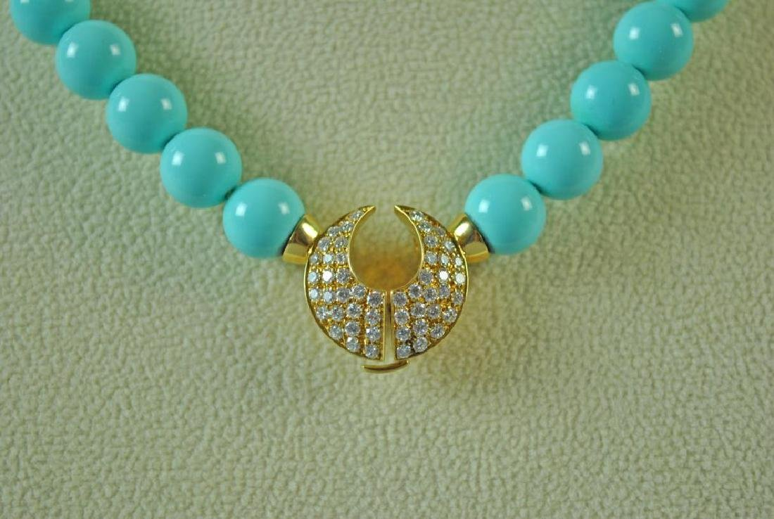 TURQUOISE COLOR BEADS WITH 18K DIAMOND CLASP - 3