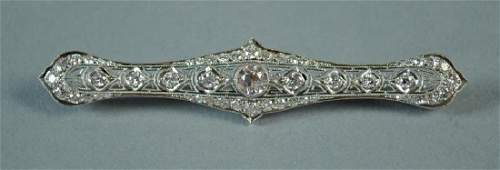 LARGE DECO PLATINUM  DIAMOND BAR PIN 250CTW