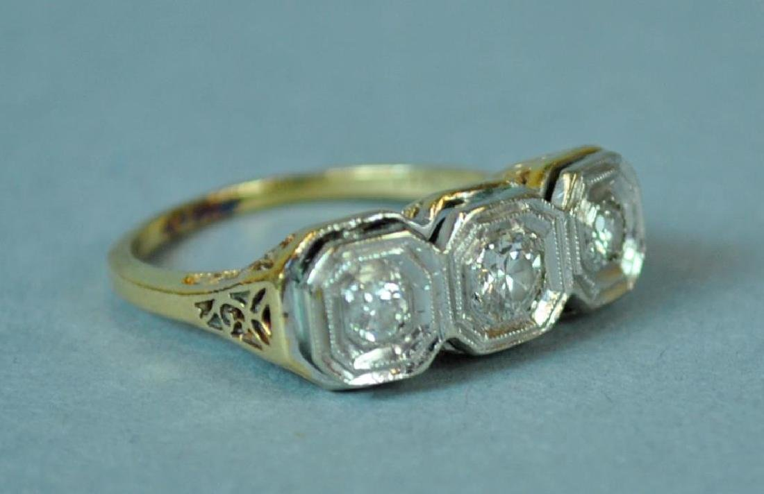 ART DECO TRIPLE DIAMOND RING, 0.36CT - 2