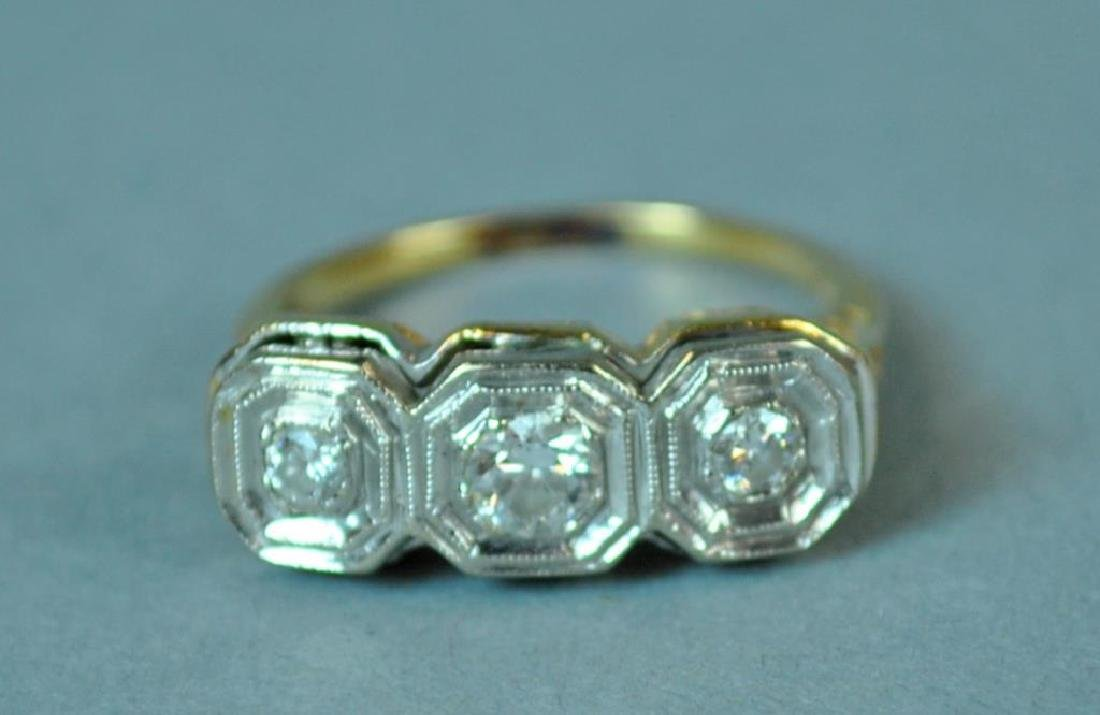 ART DECO TRIPLE DIAMOND RING, 0.36CT - 3