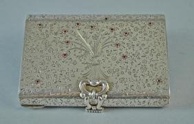 ITALIAN 800 SILVER LADIES JEWELED COSMETIC CASE