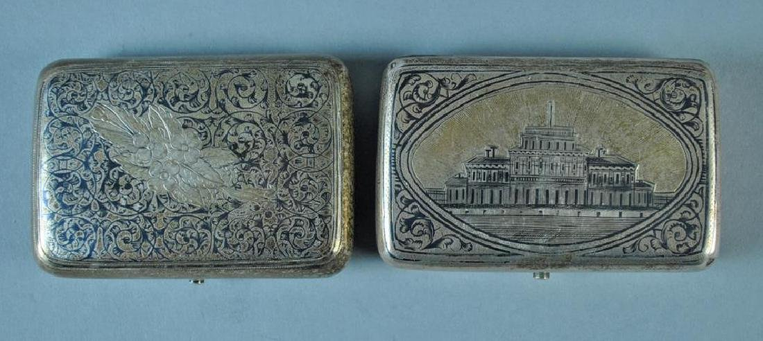(2) RUSSIAN NIELLO SILVER CASES