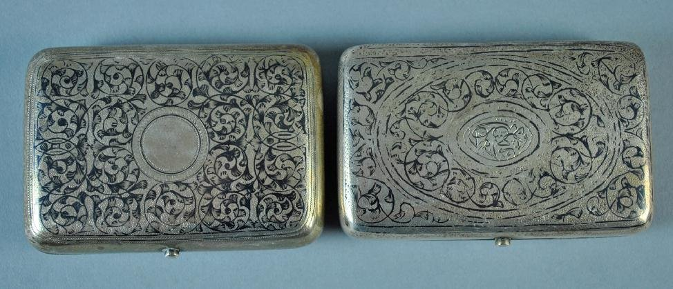 (2) RUSSIAN NIELLO SILVER CASES - 4