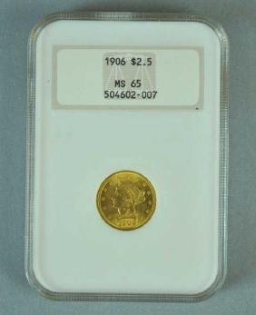 1906 $2.50 LIBERTY HEAD GOLD COIN - NGC MS 65