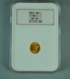 1854 G$1.00 TYPE 1 GOLD COIN - NGC MS 64