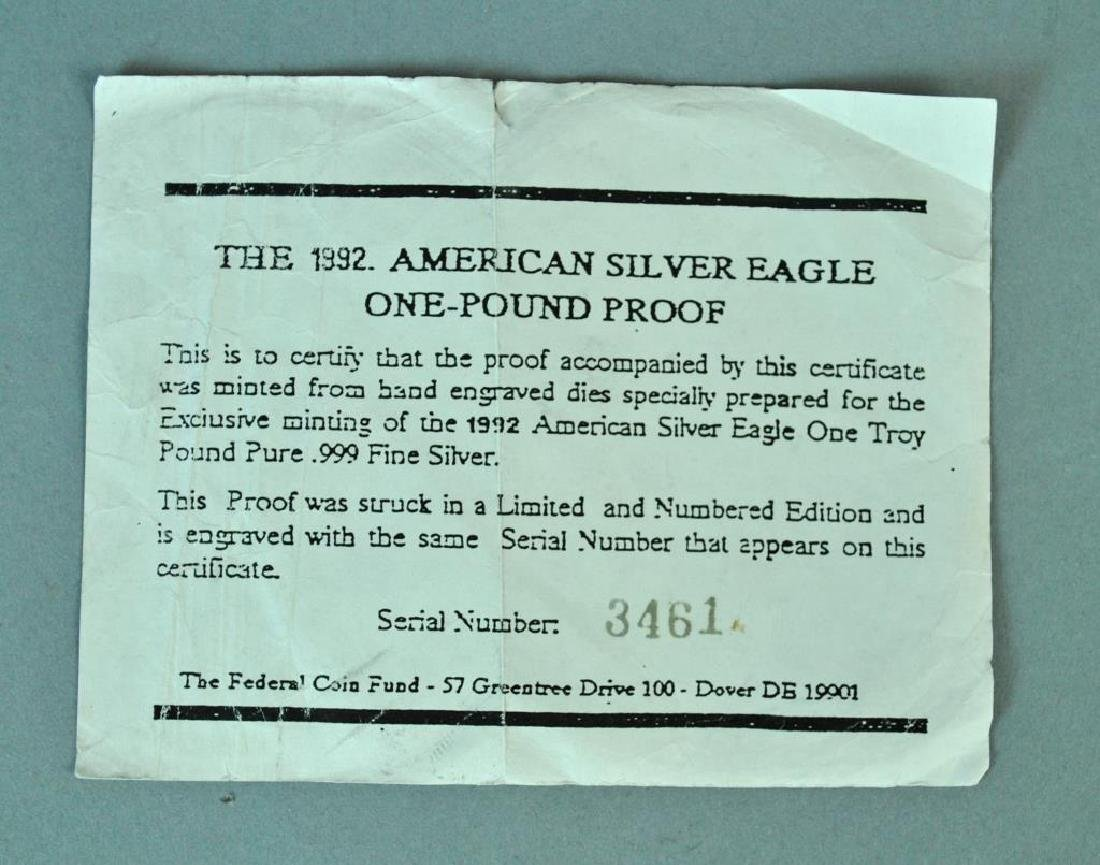 ONE TROY POUND SILVER 1992 AMERICAN EAGLE PROOF - 3