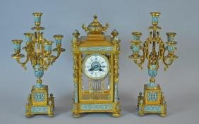 FRENCH CHAMPLEVE & BRONZE CLOCK GARNITURE