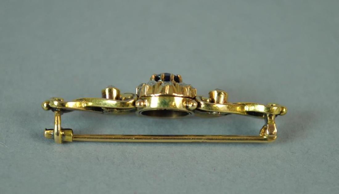 SAPPHIRE & DIAMOND BAR PIN - 2