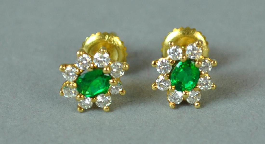 18K EMERALD & DIAMOND EARRINGS