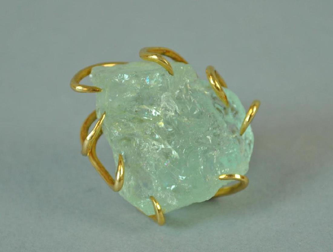 GOLD RING WITH LARGE ROUGH-CUT STONE - 2