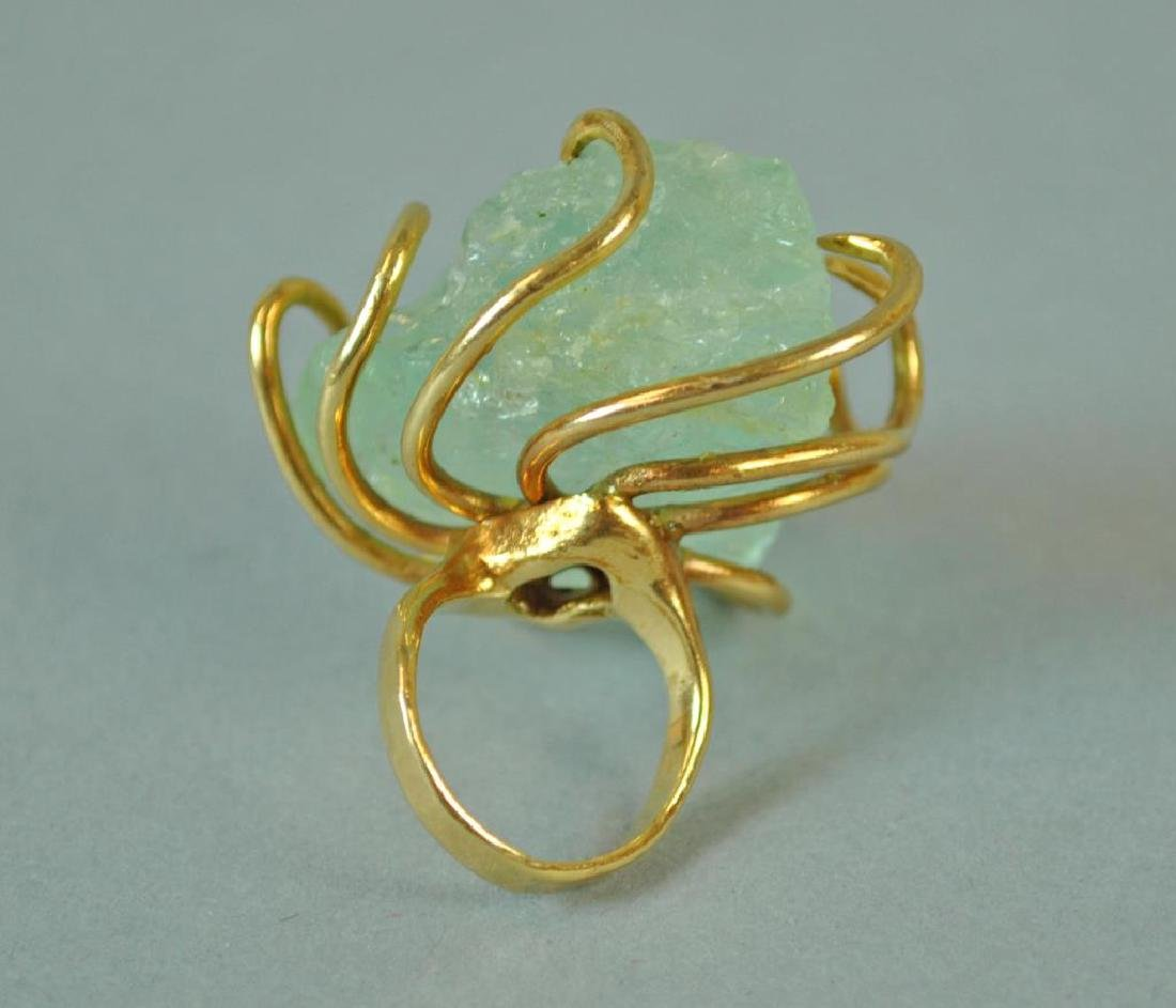 GOLD RING WITH LARGE ROUGH-CUT STONE - 3