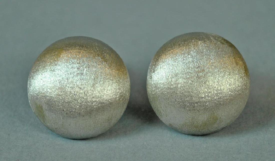 ITALIAN 18K WHITE  BRUSHED GOLD BUTTON EARCLIPS