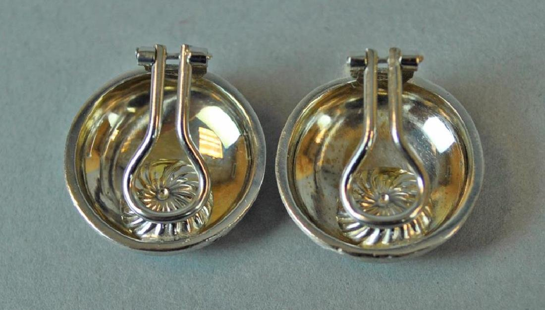 ITALIAN 18K WHITE  BRUSHED GOLD BUTTON EARCLIPS - 2
