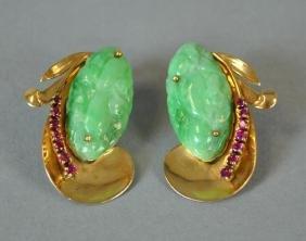 Pair Jade & Ruby Pierced Earclips