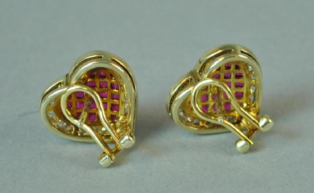 RUBY & DIAMOND HEART EARRINGS - 3