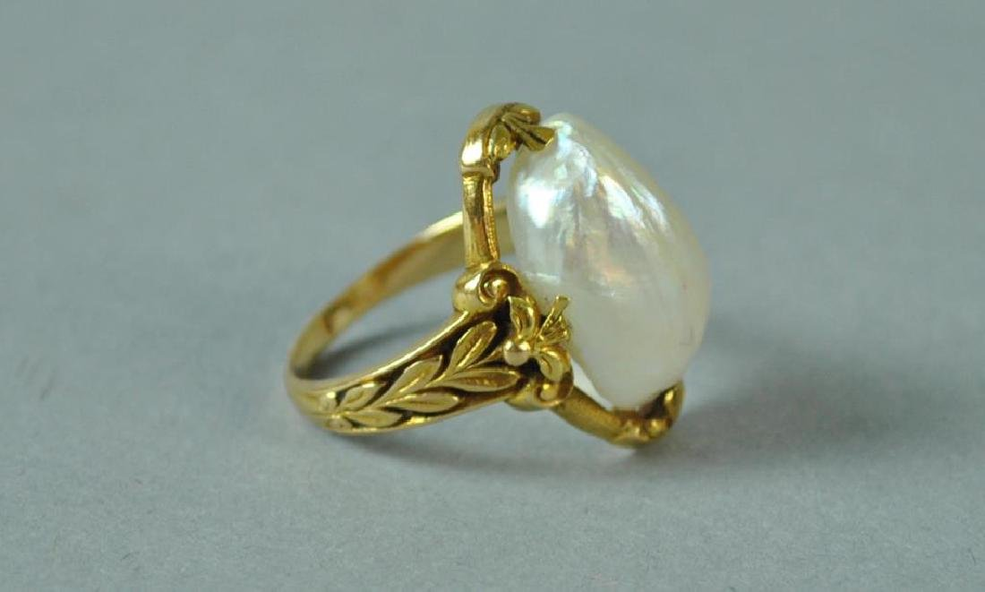 GOLD & BAROQUE PEARL RING - 2