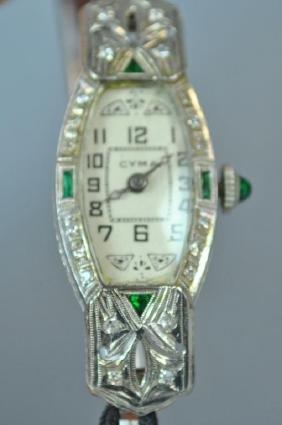ART DECO DIAMOND & EMERALD18K CASE WATCH