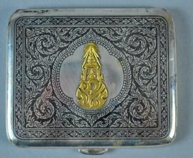 NIELLO STERLING & GOLD CIGARETTE CASE