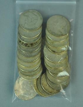 (30) BENJAMIN FRANKLIN SILVER HALF-DOLLAR COINS
