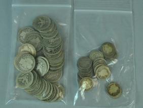 (73) BARBER SILVER QUARTER & DIME COINS
