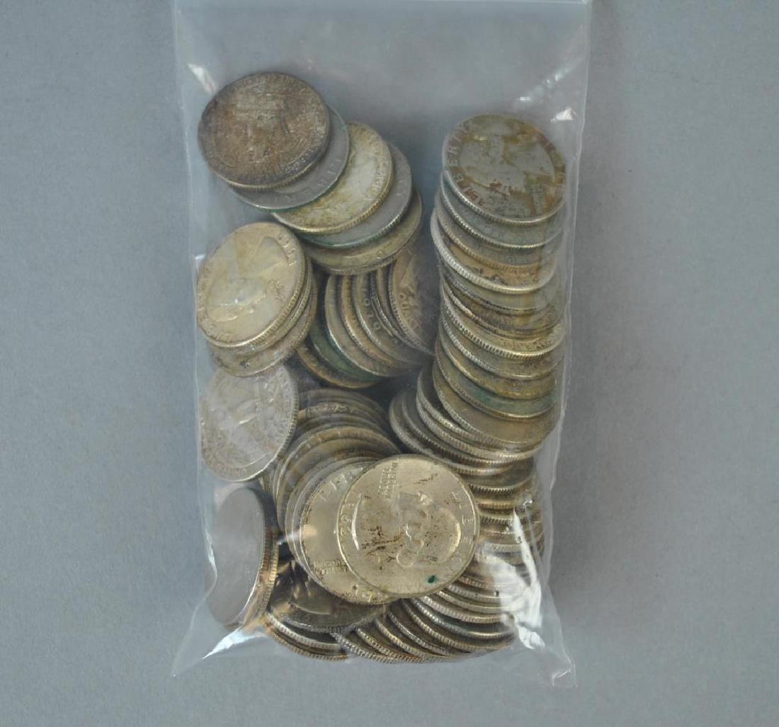 (65+) WASHINGTON SILVER QUARTER-DOLLAR COINS