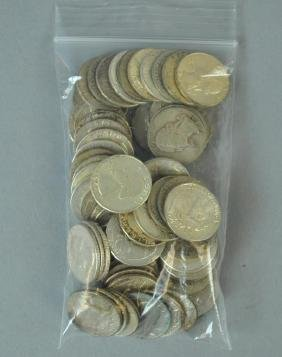 (65+) WASHINGTON SILVER QUARTER-DOLLAR COINS