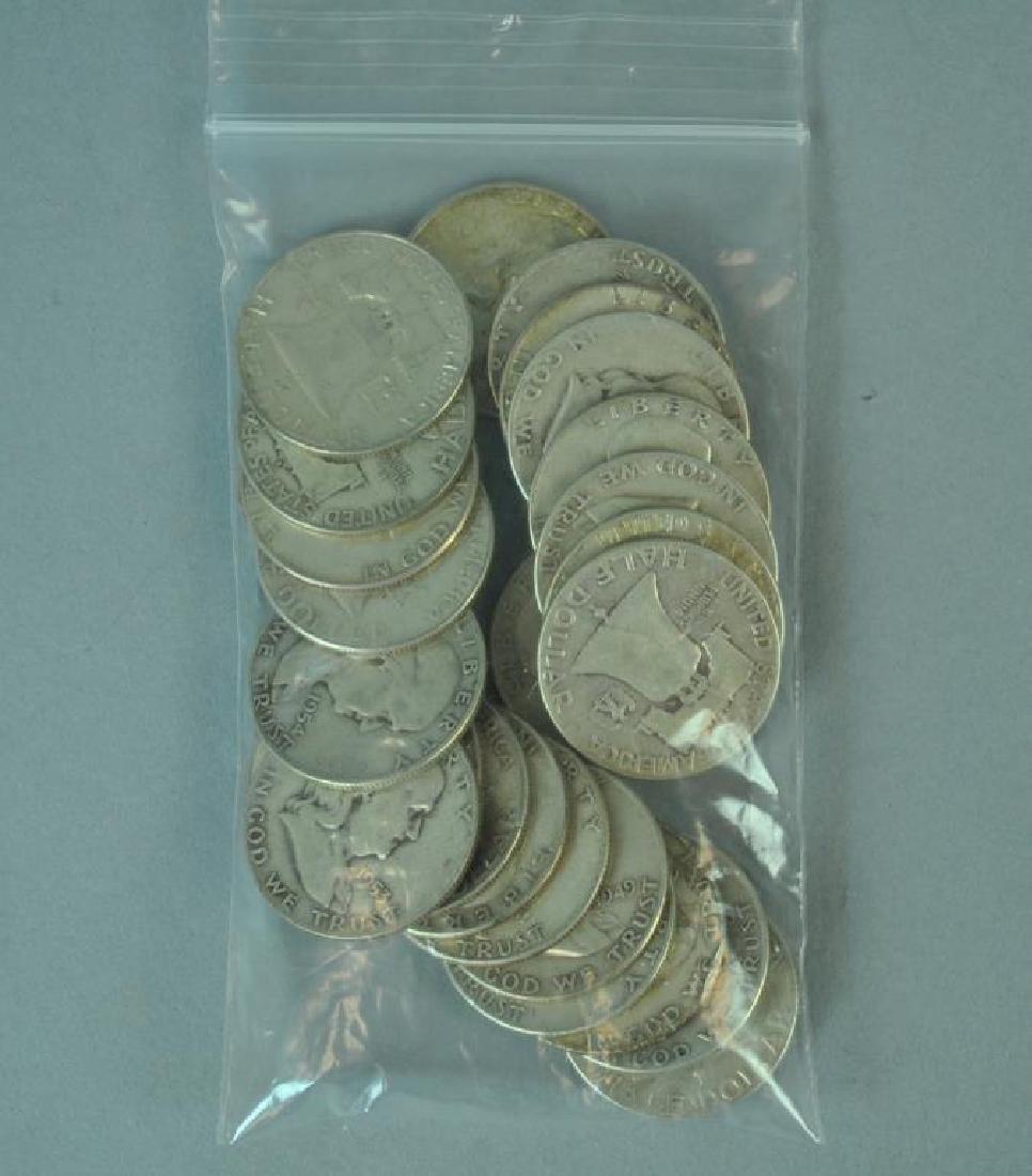 (24) FRANKLIN SILVER HALF-DOLLAR COINS