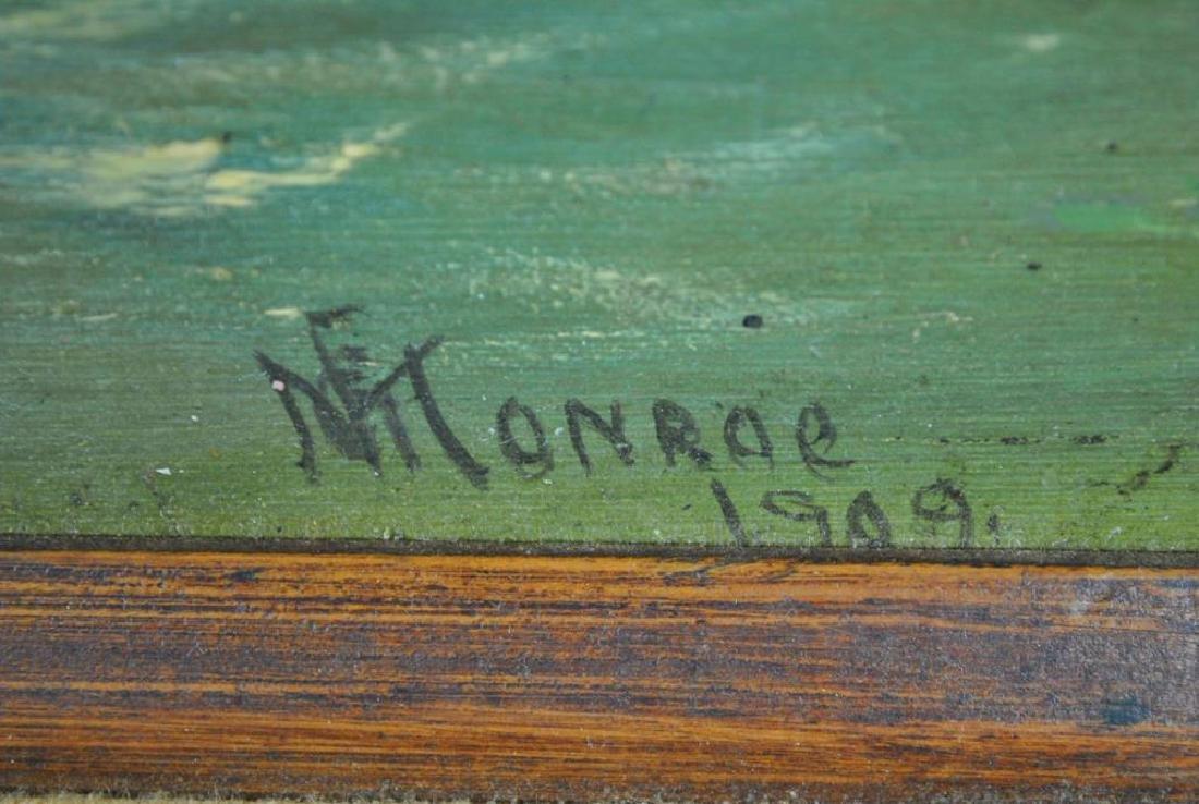 VINTAGE OIL PAINTING SIGNED MONROE - 4